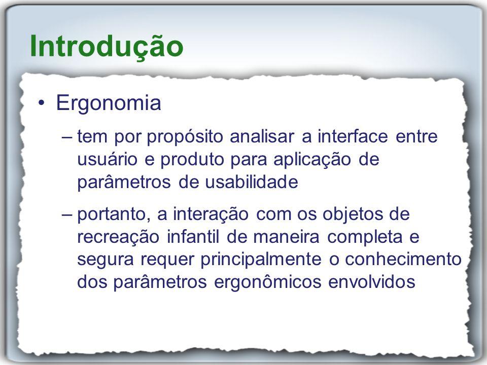 Introdução Ergonomia –tem por propósito analisar a interface entre usuário e produto para aplicação de parâmetros de usabilidade –portanto, a interaçã