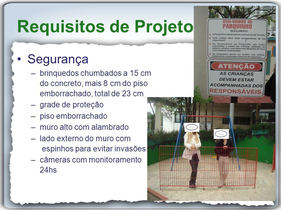 Segurança –brinquedos chumbados a 15 cm do concreto, mais 8 cm do piso emborrachado, total de 23 cm –grade de proteção –piso emborrachado –muro alto c