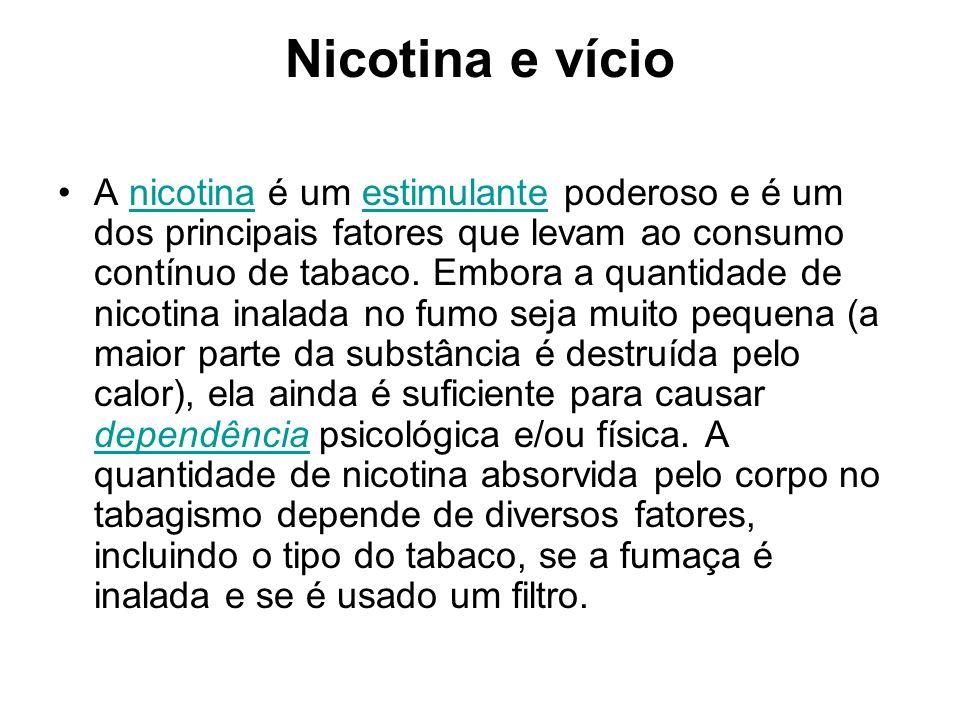 Nicotina e vício A nicotina é um estimulante poderoso e é um dos principais fatores que levam ao consumo contínuo de tabaco. Embora a quantidade de ni