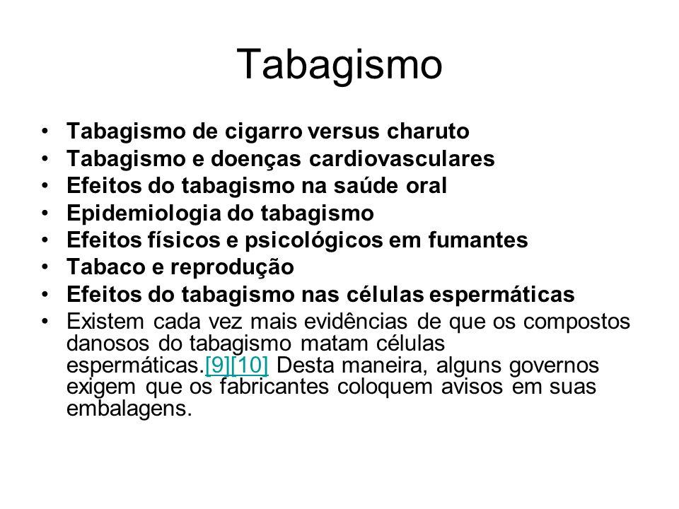 Tabagismo Tabagismo de cigarro versus charuto Tabagismo e doenças cardiovasculares Efeitos do tabagismo na saúde oral Epidemiologia do tabagismo Efeit