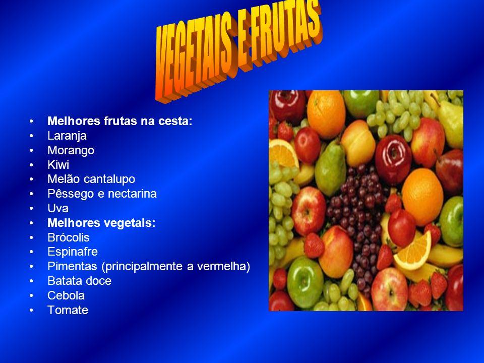 Melhores frutas na cesta: Laranja Morango Kiwi Melão cantalupo Pêssego e nectarina Uva Melhores vegetais: Brócolis Espinafre Pimentas (principalmente