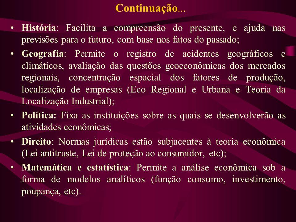 Continuação... História: Facilita a compreensão do presente, e ajuda nas previsões para o futuro, com base nos fatos do passado; Geografia: Permite o