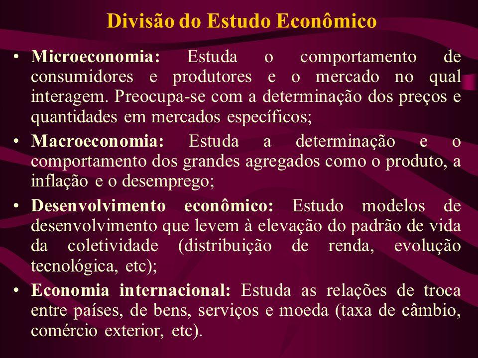 Divisão do Estudo Econômico Microeconomia: Estuda o comportamento de consumidores e produtores e o mercado no qual interagem. Preocupa-se com a determ