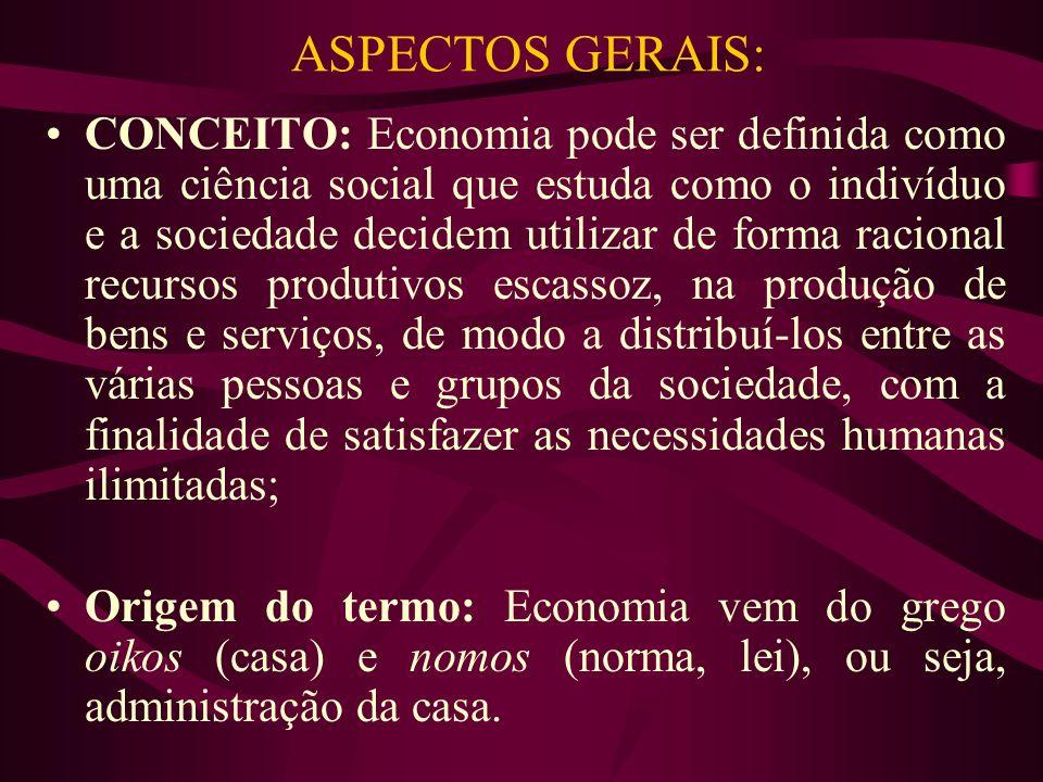 ASPECTOS GERAIS: CONCEITO: Economia pode ser definida como uma ciência social que estuda como o indivíduo e a sociedade decidem utilizar de forma raci