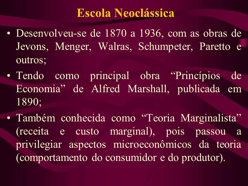 Escola Neoclássica Desenvolveu-se de 1870 a 1936, com as obras de Jevons, Menger, Walras, Schumpeter, Paretto e outros; Tendo como principal obra Prin