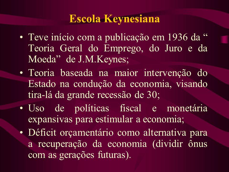 Escola Keynesiana Teve início com a publicação em 1936 da Teoria Geral do Emprego, do Juro e da Moeda de J.M.Keynes; Teoria baseada na maior intervenç