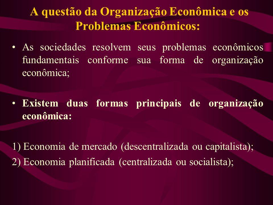 A questão da Organização Econômica e os Problemas Econômicos: As sociedades resolvem seus problemas econômicos fundamentais conforme sua forma de orga