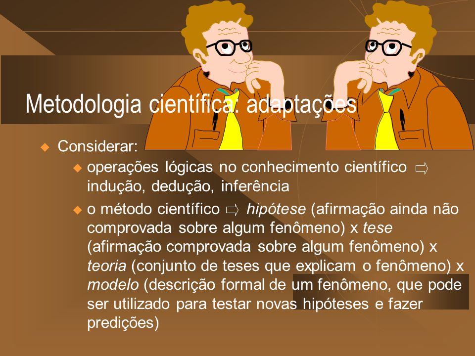 Metodologia científica: adaptações Considerar: u operações lógicas no conhecimento científico indução, dedução, inferência u o método científico hipót