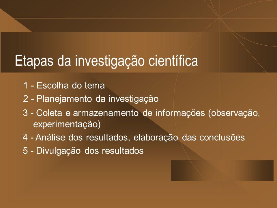 Etapas da investigação científica 1 - Escolha do tema 2 - Planejamento da investigação 3 - Coleta e armazenamento de informações (observação, experime