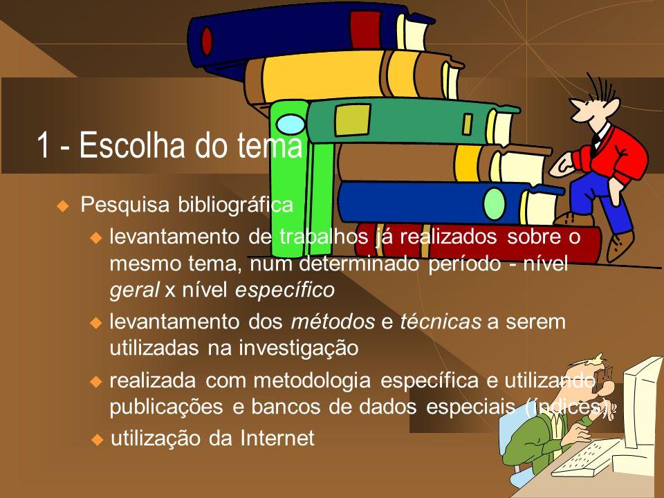 u utilização da Internet 1 - Escolha do tema Pesquisa bibliográfica u levantamento de trabalhos já realizados sobre o mesmo tema, num determinado perí