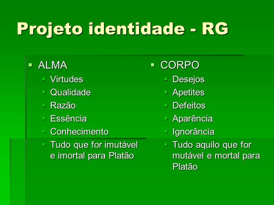 Projeto identidade - RG ALMA ALMA Virtudes Virtudes Qualidade Qualidade Razão Razão Essência Essência Conhecimento Conhecimento Tudo que for imutável