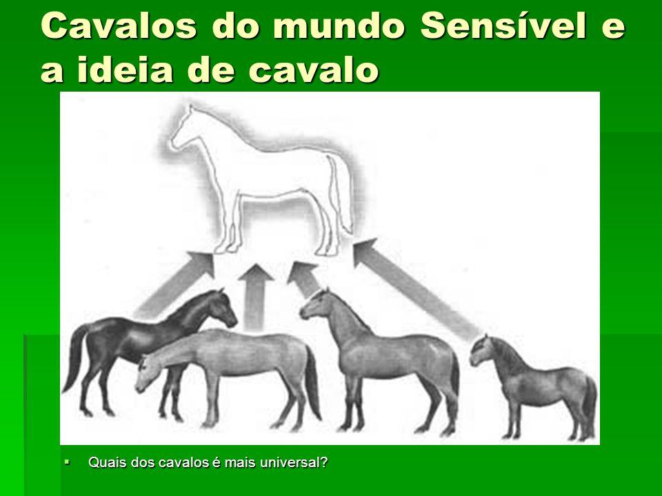 Cavalos do mundo Sensível e a ideia de cavalo Quais dos cavalos é mais universal? Quais dos cavalos é mais universal?