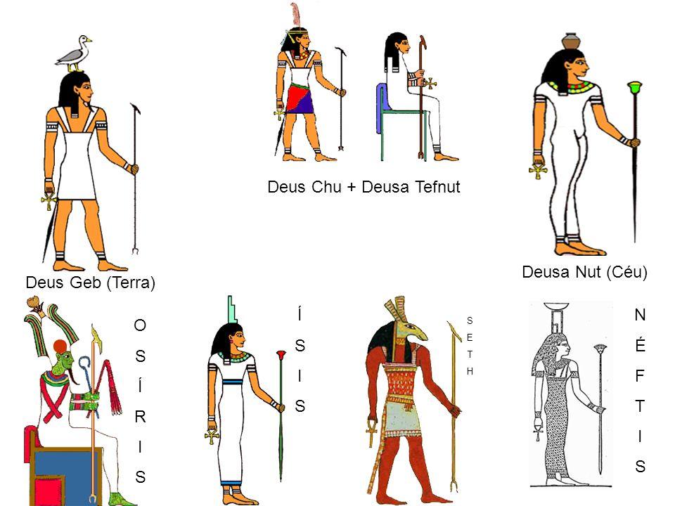 Deus Chu + Deusa Tefnut Deusa Nut (Céu) Deus Geb (Terra) OSÍRISOSÍRIS ÍSISÍSIS SETHSETH NÉFTISNÉFTIS