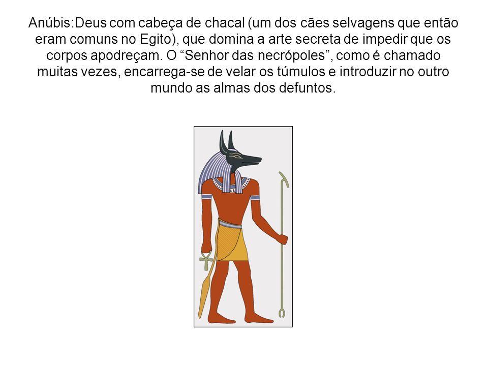 Anúbis:Deus com cabeça de chacal (um dos cães selvagens que então eram comuns no Egito), que domina a arte secreta de impedir que os corpos apodreçam.