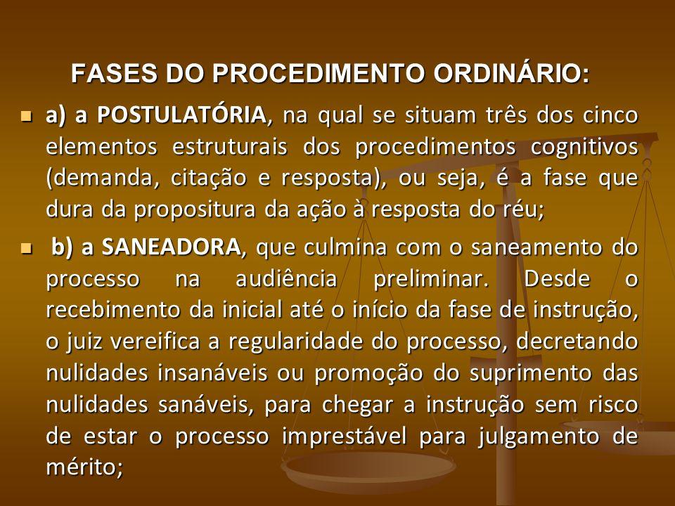 FASES DO PROCEDIMENTO ORDINÁRIO: a) a POSTULATÓRIA, na qual se situam três dos cinco elementos estruturais dos procedimentos cognitivos (demanda, cita