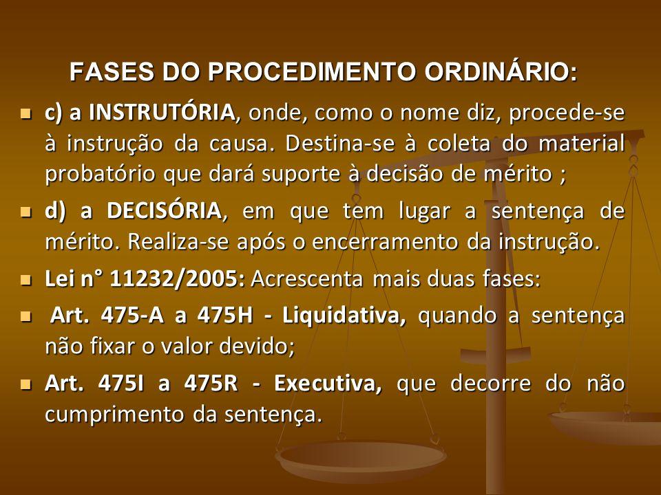 FASES DO PROCEDIMENTO ORDINÁRIO: c) a INSTRUTÓRIA, onde, como o nome diz, procede-se à instrução da causa. Destina-se à coleta do material probatório