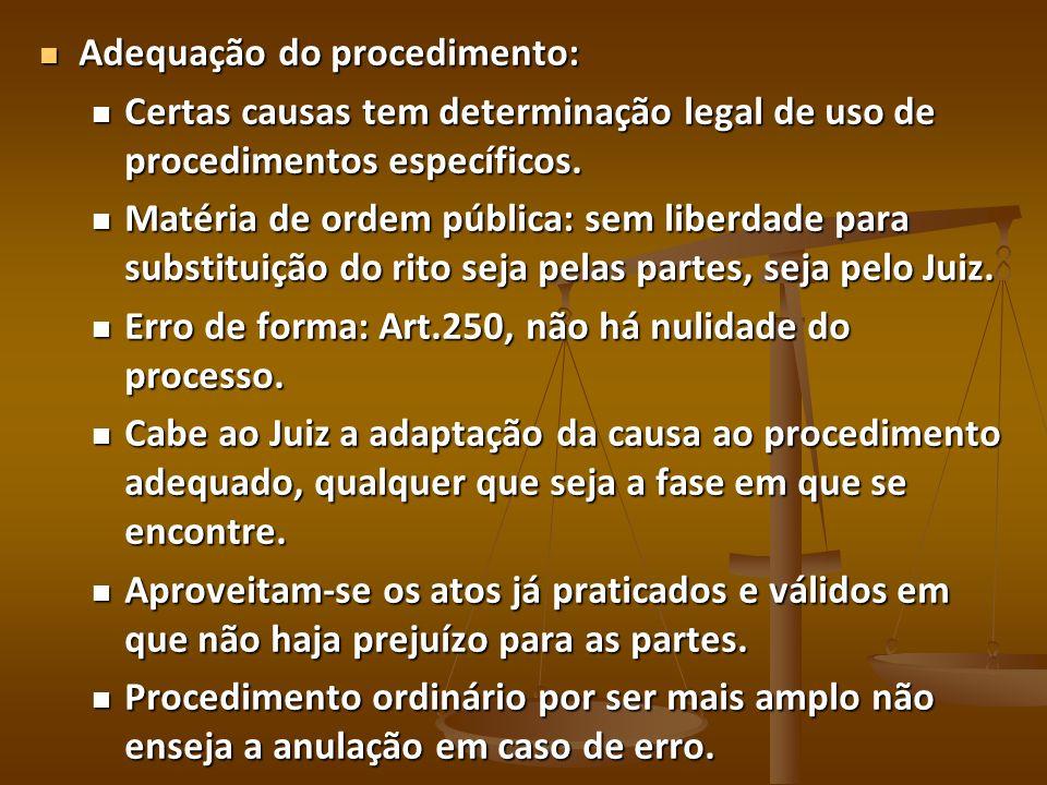 Adequação do procedimento: Adequação do procedimento: Certas causas tem determinação legal de uso de procedimentos específicos. Certas causas tem dete