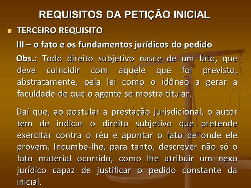 REQUISITOS DA PETIÇÃO INICIAL TERCEIRO REQUISITO TERCEIRO REQUISITO III – o fato e os fundamentos jurídicos do pedido III – o fato e os fundamentos ju