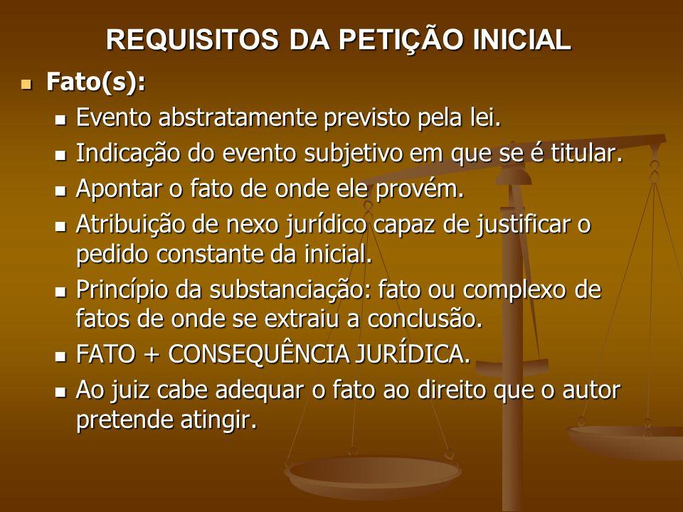 REQUISITOS DA PETIÇÃO INICIAL Fato(s): Fato(s): Evento abstratamente previsto pela lei. Evento abstratamente previsto pela lei. Indicação do evento su