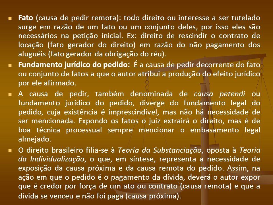 Fato (causa de pedir remota): todo direito ou interesse a ser tutelado surge em razão de um fato ou um conjunto deles, por isso eles são necessários n