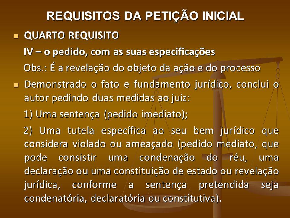 REQUISITOS DA PETIÇÃO INICIAL QUARTO REQUISITO QUARTO REQUISITO IV – o pedido, com as suas especificações IV – o pedido, com as suas especificações Ob