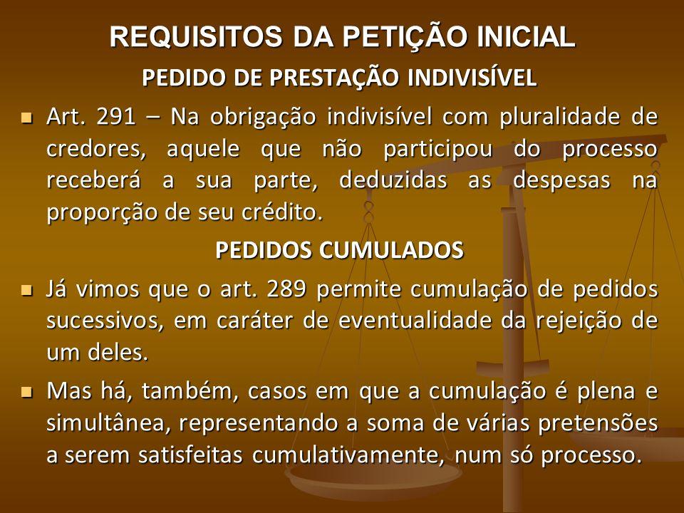 REQUISITOS DA PETIÇÃO INICIAL PEDIDO DE PRESTAÇÃO INDIVISÍVEL Art. 291 – Na obrigação indivisível com pluralidade de credores, aquele que não particip