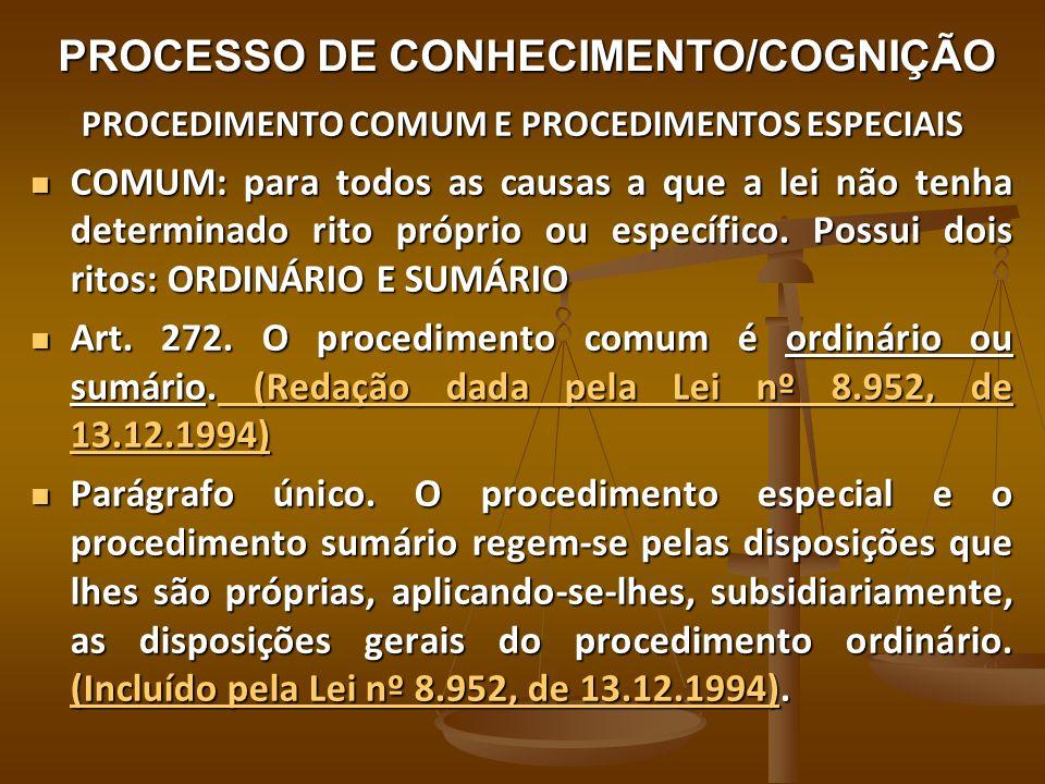 PROCESSO DE CONHECIMENTO/COGNIÇÃO: PROCEDIMENTO COMUM E PROCEDIMENTOS ESPECIAIS SUMÁRIO: EM RAZÃO DA MATÉRIA OU DO VALOR DA CAUSA SUMÁRIO: EM RAZÃO DA MATÉRIA OU DO VALOR DA CAUSA ORDINÁRIO: CRITÉRIO POR EXCLUSÃO, OU SEJA, TUDO O QUE NÃO COUBER NOS DEMAIS PROCEDIMENTOS (NÃO HOUVER PREVISÃO DE RITO PRÓPRIO OU ESPECÍFICO) É O MAIS APTO À REALIZAÇÃO DO PROCESSO DE CONHECIMENTO.