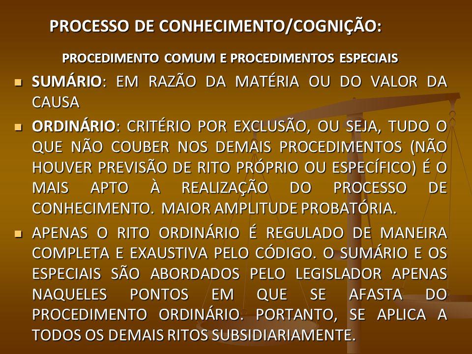 PROCESSO DE CONHECIMENTO/COGNIÇÃO: PROCEDIMENTO COMUM E PROCEDIMENTOS ESPECIAIS ESPECIAIS SÃO OS RITOS PRÓPRIOS PARA O PROCESSAMENTO DE DETERMINADAS CAUSAS SELECIONADAS PELO LEGISLADOR NO LIVRO IV DO CPC E EM LEIS EXTRAVAGANTES.