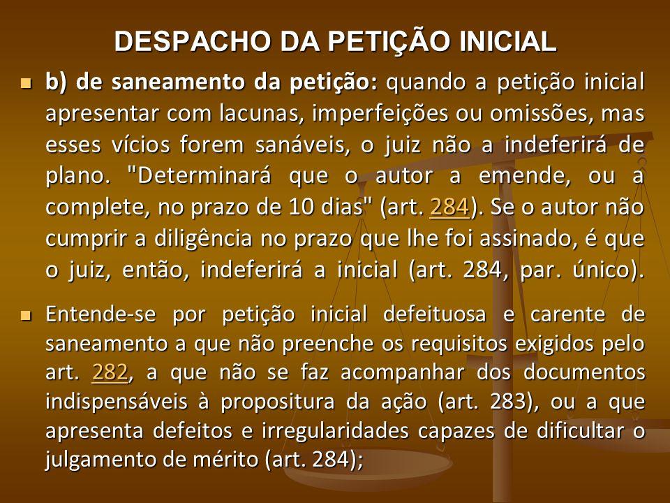 DESPACHO DA PETIÇÃO INICIAL b) de saneamento da petição: quando a petição inicial apresentar com lacunas, imperfeições ou omissões, mas esses vícios f