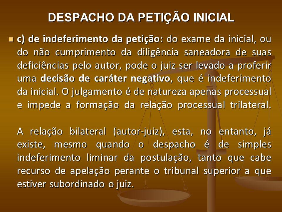 DESPACHO DA PETIÇÃO INICIAL c) de indeferimento da petição: do exame da inicial, ou do não cumprimento da diligência saneadora de suas deficiências pe