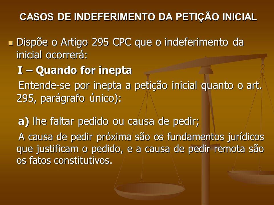 CASOS DE INDEFERIMENTO DA PETIÇÃO INICIAL Dispõe o Artigo 295 CPC que o indeferimento da inicial ocorrerá: Dispõe o Artigo 295 CPC que o indeferimento