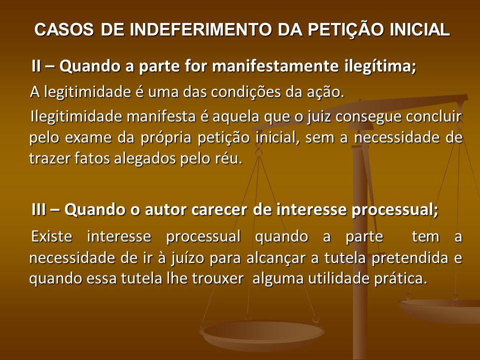 CASOS DE INDEFERIMENTO DA PETIÇÃO INICIAL II – Quando a parte for manifestamente ilegítima; II – Quando a parte for manifestamente ilegítima; A legiti