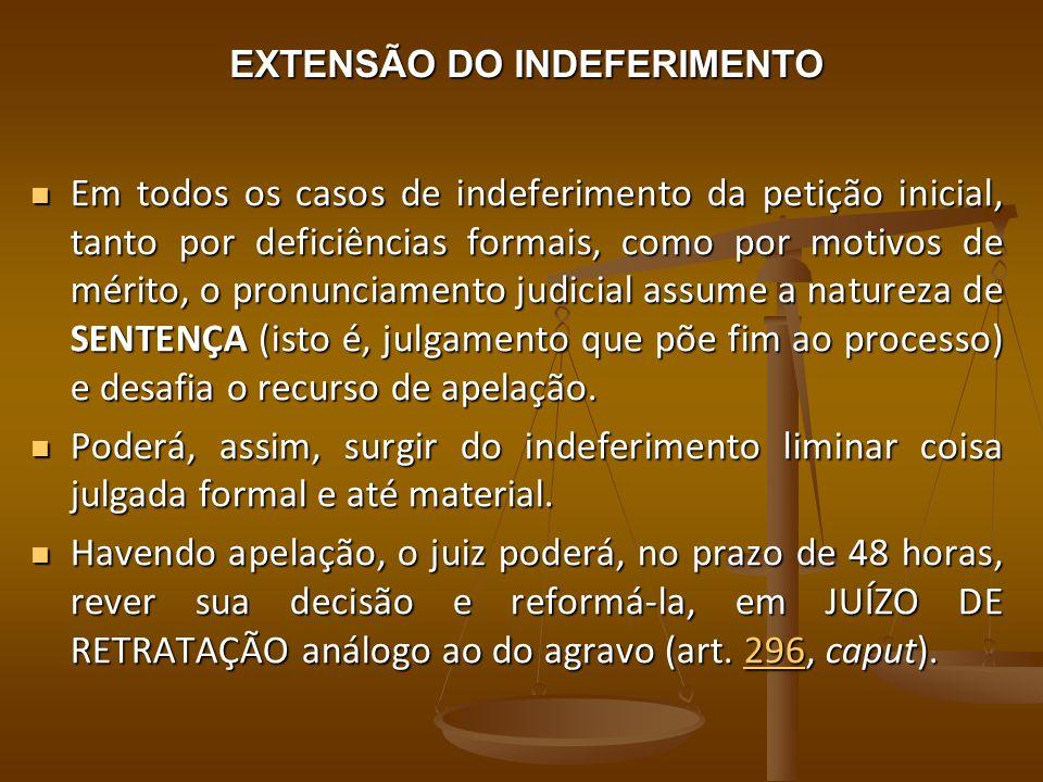 EXTENSÃO DO INDEFERIMENTO Em todos os casos de indeferimento da petição inicial, tanto por deficiências formais, como por motivos de mérito, o pronunc