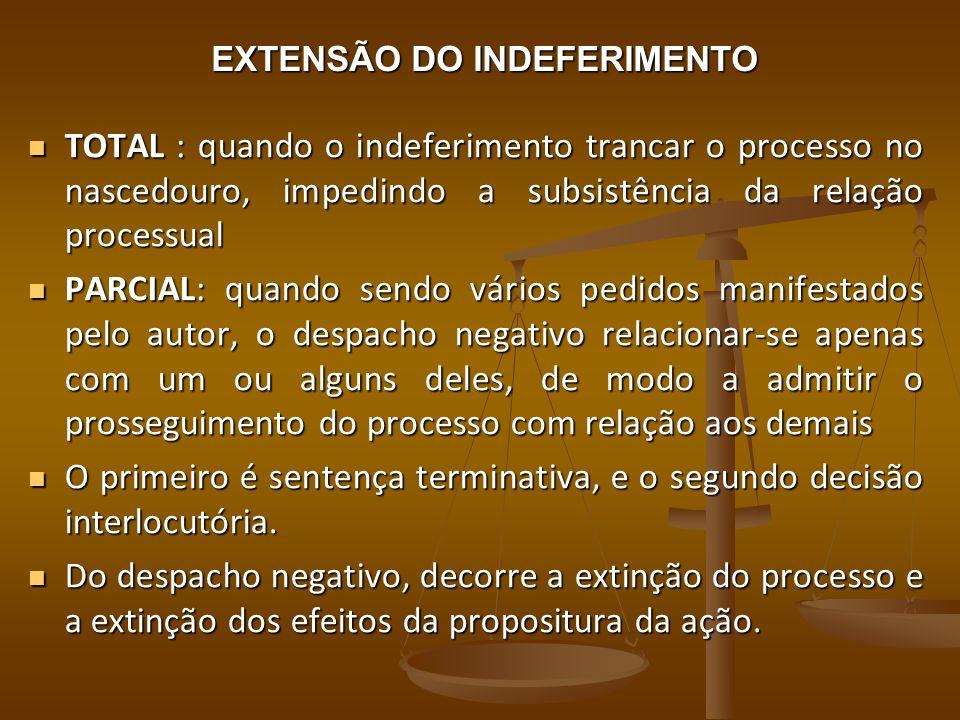 EXTENSÃO DO INDEFERIMENTO TOTAL : quando o indeferimento trancar o processo no nascedouro, impedindo a subsistência da relação processual TOTAL : quan