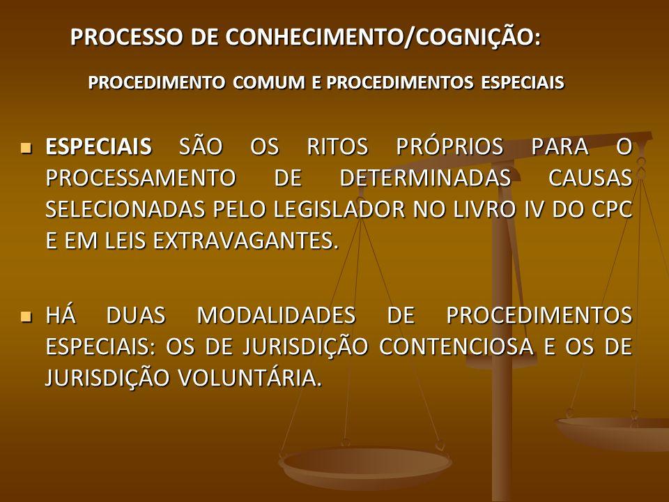 PROCESSO DE CONHECIMENTO/COGNIÇÃO: PROCEDIMENTO COMUM E PROCEDIMENTOS ESPECIAIS ESPECIAIS SÃO OS RITOS PRÓPRIOS PARA O PROCESSAMENTO DE DETERMINADAS C