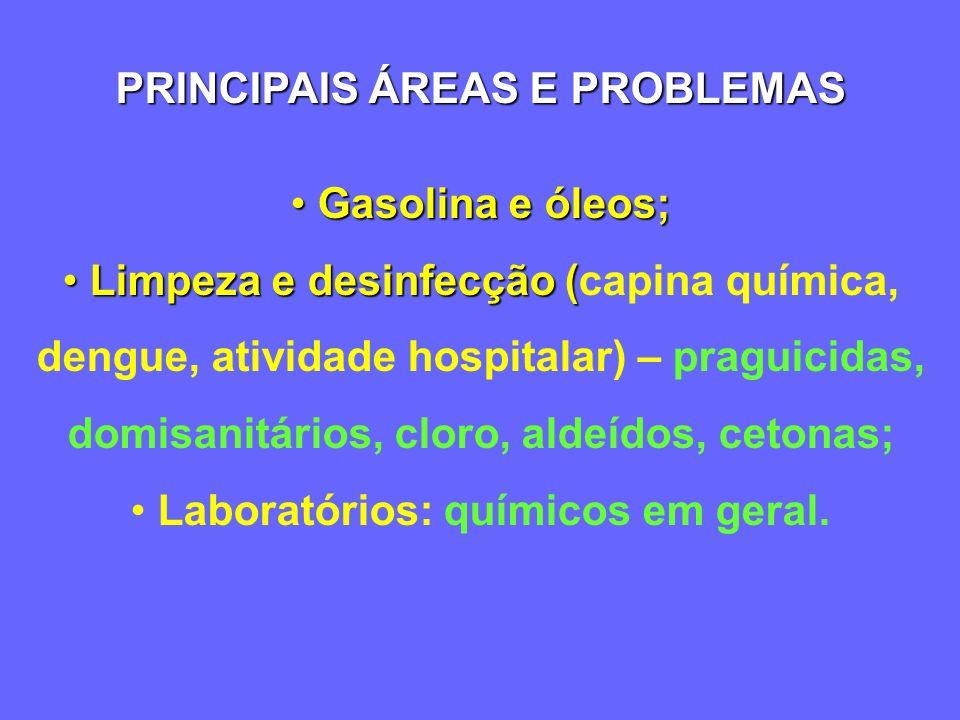 PRINCIPAIS ÁREAS E PROBLEMAS Agropecuária – Agropecuária – praguicidas, metais; Atividade industrial em geral - Atividade industrial em geral - partic
