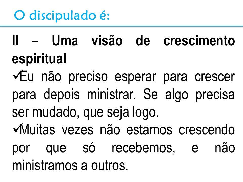 II – Uma visão de crescimento espiritual Eu não preciso esperar para crescer para depois ministrar. Se algo precisa ser mudado, que seja logo. Muitas