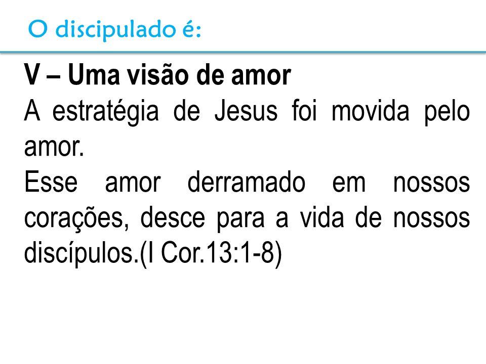 V – Uma visão de amor A estratégia de Jesus foi movida pelo amor. Esse amor derramado em nossos corações, desce para a vida de nossos discípulos.(I Co
