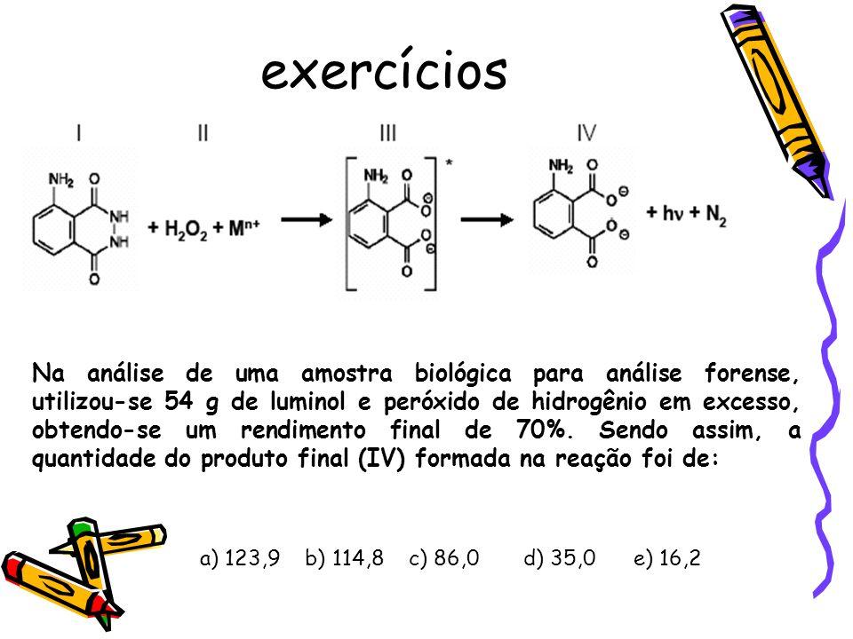 exercícios Na análise de uma amostra biológica para análise forense, utilizou-se 54 g de luminol e peróxido de hidrogênio em excesso, obtendo-se um rendimento final de 70%.