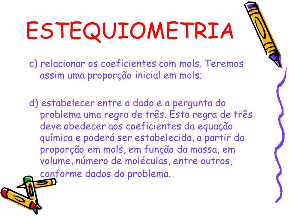 ESTEQUIOMETRIA c) relacionar os coeficientes com mols.