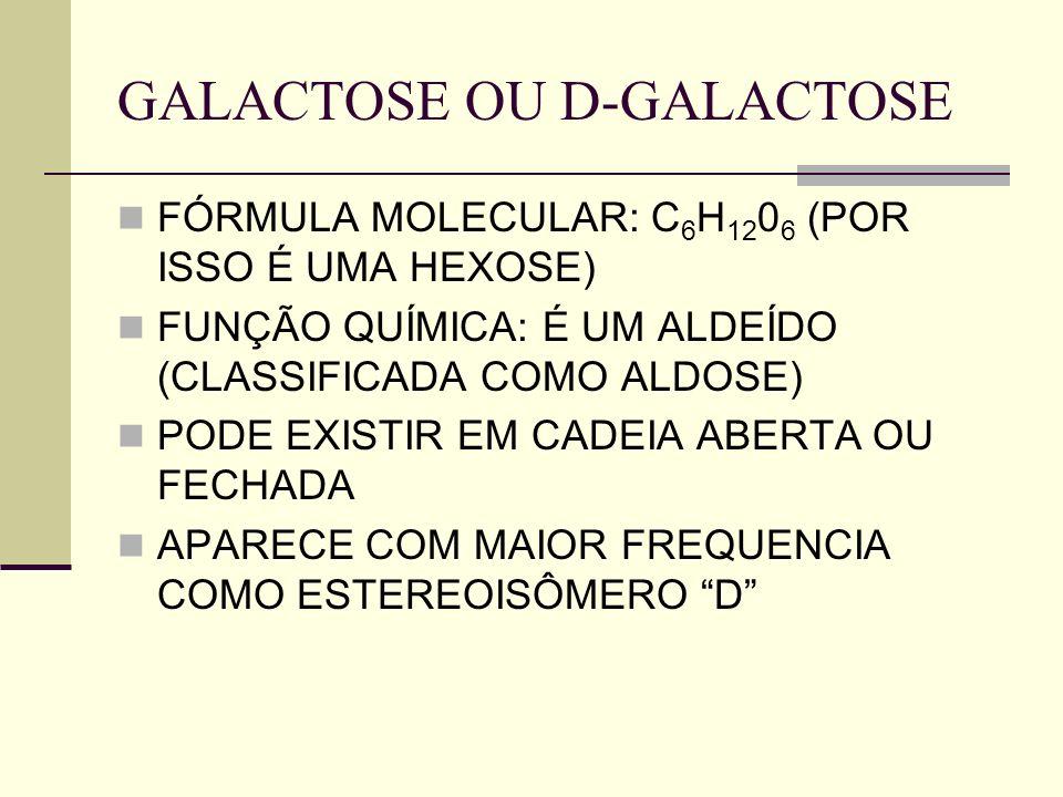 GALACTOSE OU D-GALACTOSE FÓRMULA MOLECULAR: C 6 H 12 0 6 (POR ISSO É UMA HEXOSE) FUNÇÃO QUÍMICA: É UM ALDEÍDO (CLASSIFICADA COMO ALDOSE) PODE EXISTIR