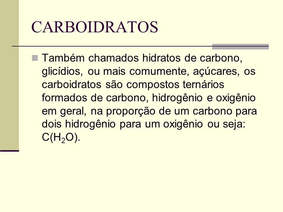 CARBOIDRATOS Também chamados hidratos de carbono, glicídios, ou mais comumente, açúcares, os carboidratos são compostos ternários formados de carbono,