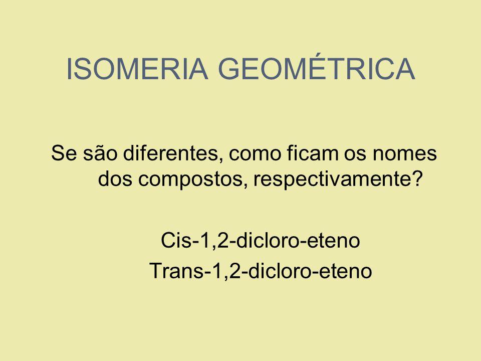 ISOMERIA GEOMÉTRICA Se são diferentes, como ficam os nomes dos compostos, respectivamente? 1. Cis-1,2-dicloro-eteno 2. Trans-1,2-dicloro-eteno