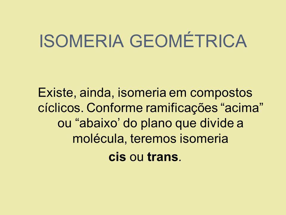 ISOMERIA GEOMÉTRICA Existe, ainda, isomeria em compostos cíclicos. Conforme ramificações acima ou abaixo do plano que divide a molécula, teremos isome