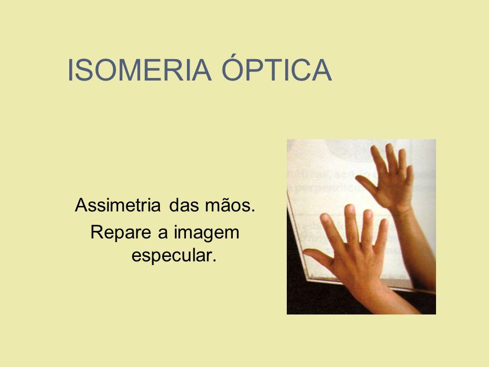 ISOMERIA ÓPTICA Assimetria das mãos. Repare a imagem especular.