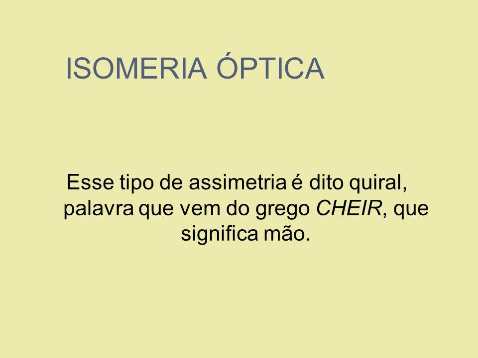 ISOMERIA ÓPTICA Esse tipo de assimetria é dito quiral, palavra que vem do grego CHEIR, que significa mão.