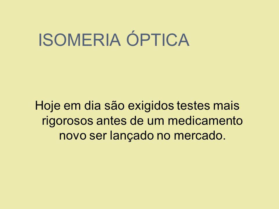 ISOMERIA ÓPTICA Hoje em dia são exigidos testes mais rigorosos antes de um medicamento novo ser lançado no mercado.
