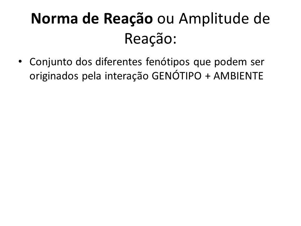 Norma de Reação ou Amplitude de Reação: Conjunto dos diferentes fenótipos que podem ser originados pela interação GENÓTIPO + AMBIENTE