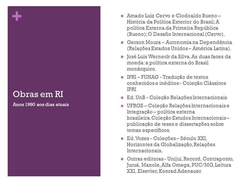 + Obras em RI Amado Luiz Cervo e Clodoaldo Bueno – História da Política Exterior do Brasil; A política Externa da Primeira República (Bueno); O Desafi