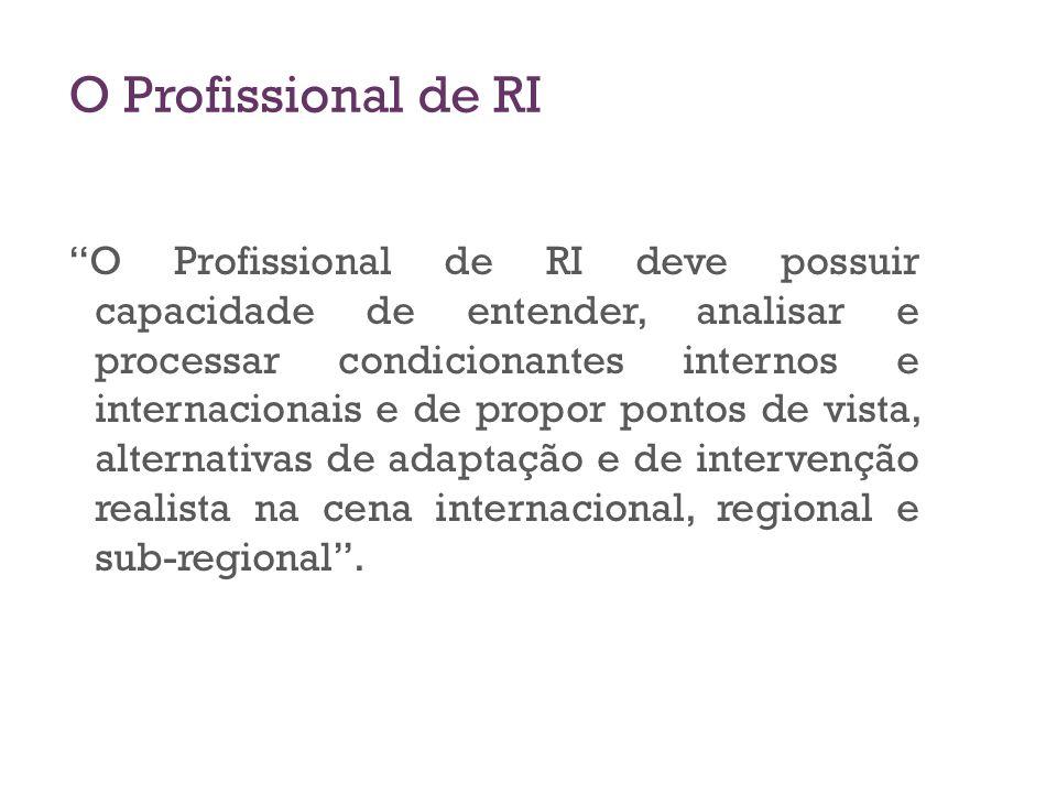 O Profissional de RI O Profissional de RI deve possuir capacidade de entender, analisar e processar condicionantes internos e internacionais e de prop